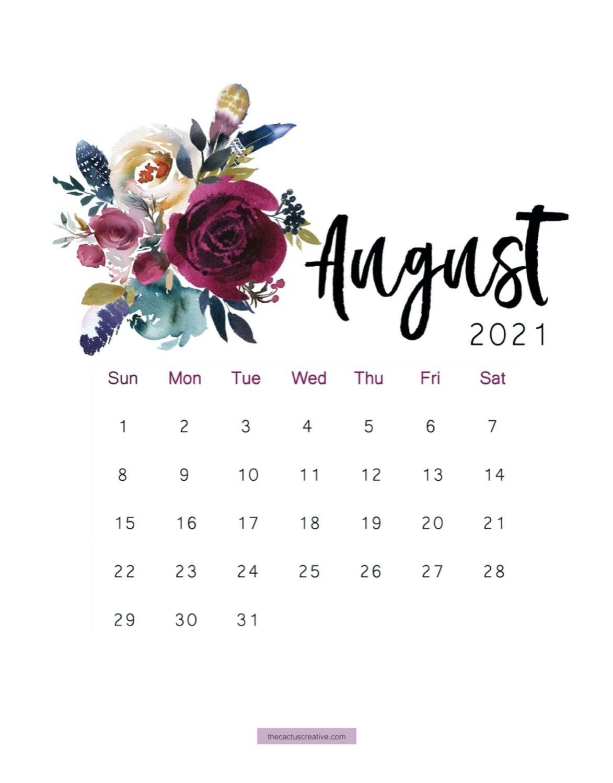 2021 Printable Calendar Floral Watercolor Calendar Letter Size 1173x1500