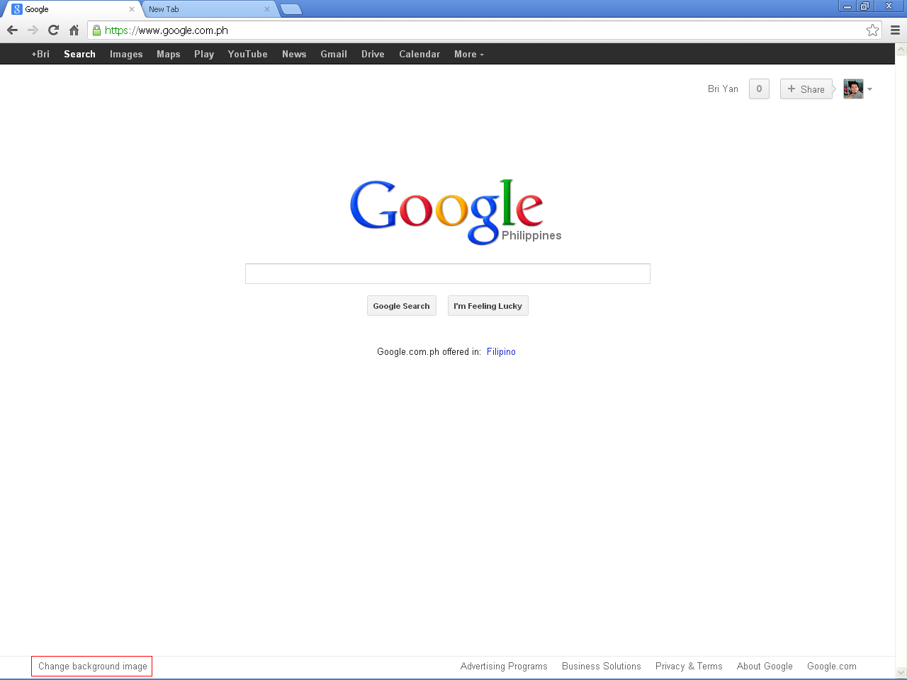 corner of your GOogle homepage screen click Change background image 1280x960