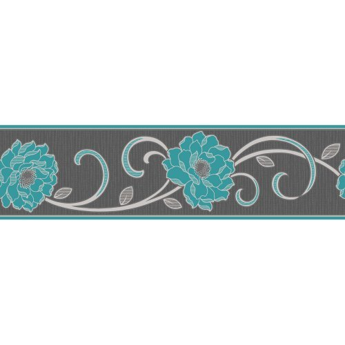 Wallpaper Border Charcoal Blue by Fine Decor   The Wallpaper Store 500x500