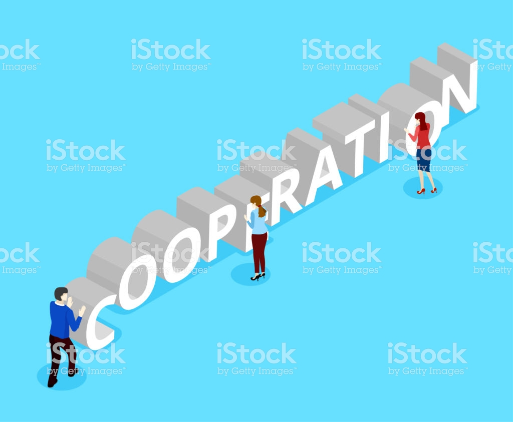 Blue Cooperation Background With People Stock Illustration 1024x843