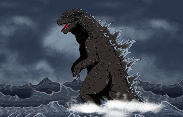 Godzilla dinosaur godzilla monster dinozaur water sea wallpapers 596x380