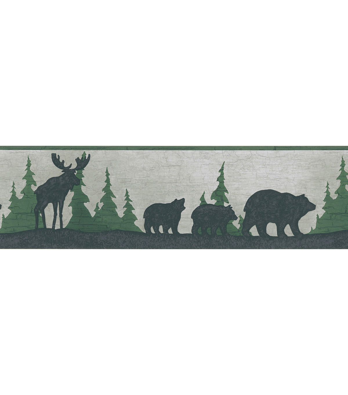Bear And Moose Silhouette Wallpaper Border SampleGreat Woods Grey Bear 1200x1360