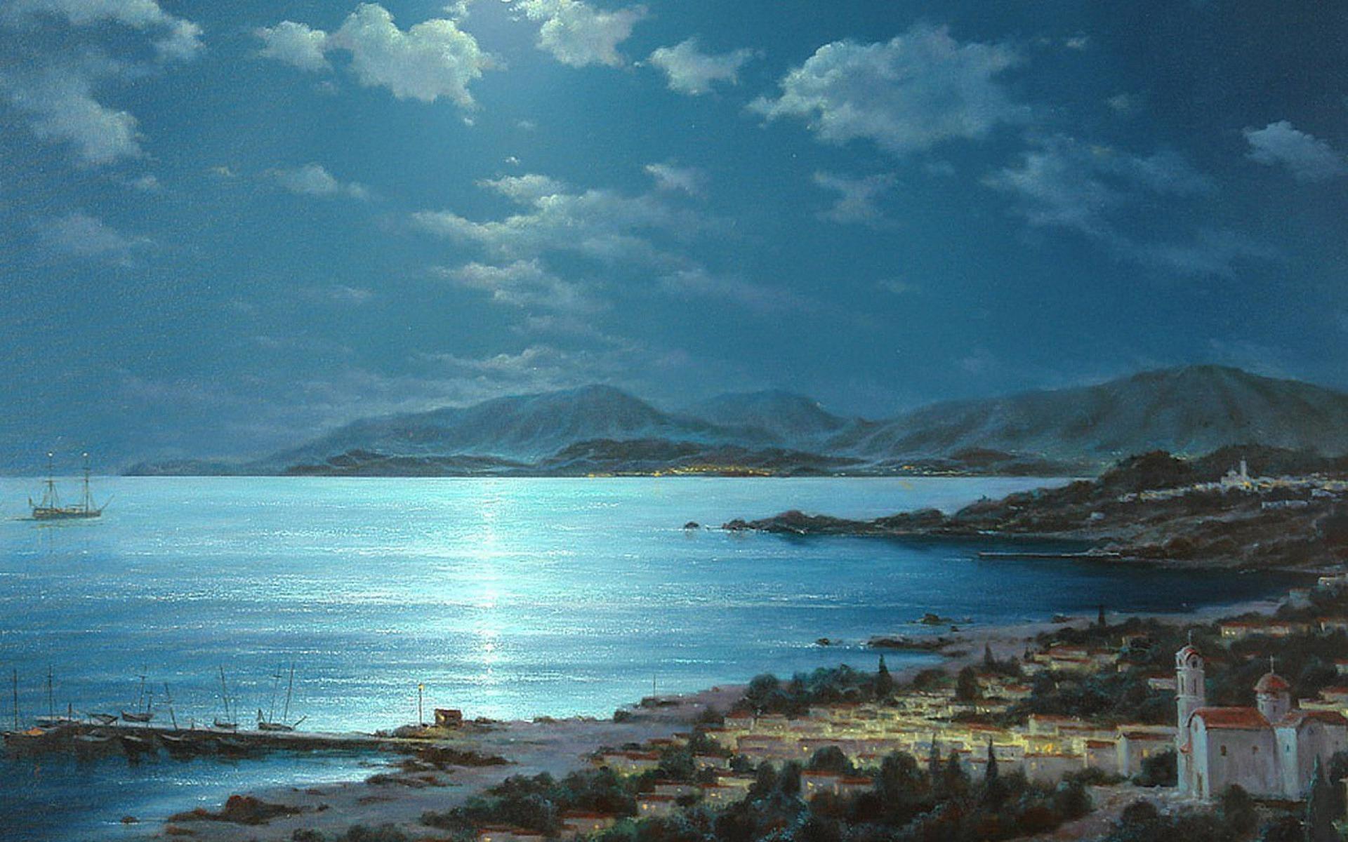 1920x1200 Beautiful Night Crete Greece desktop PC and Mac wallpaper 1920x1200