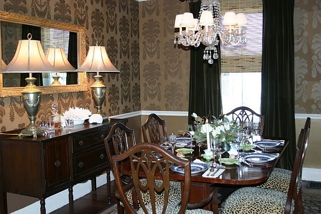 Dining room in Gold wallpaper from Thibaut traditional dining room 640x426