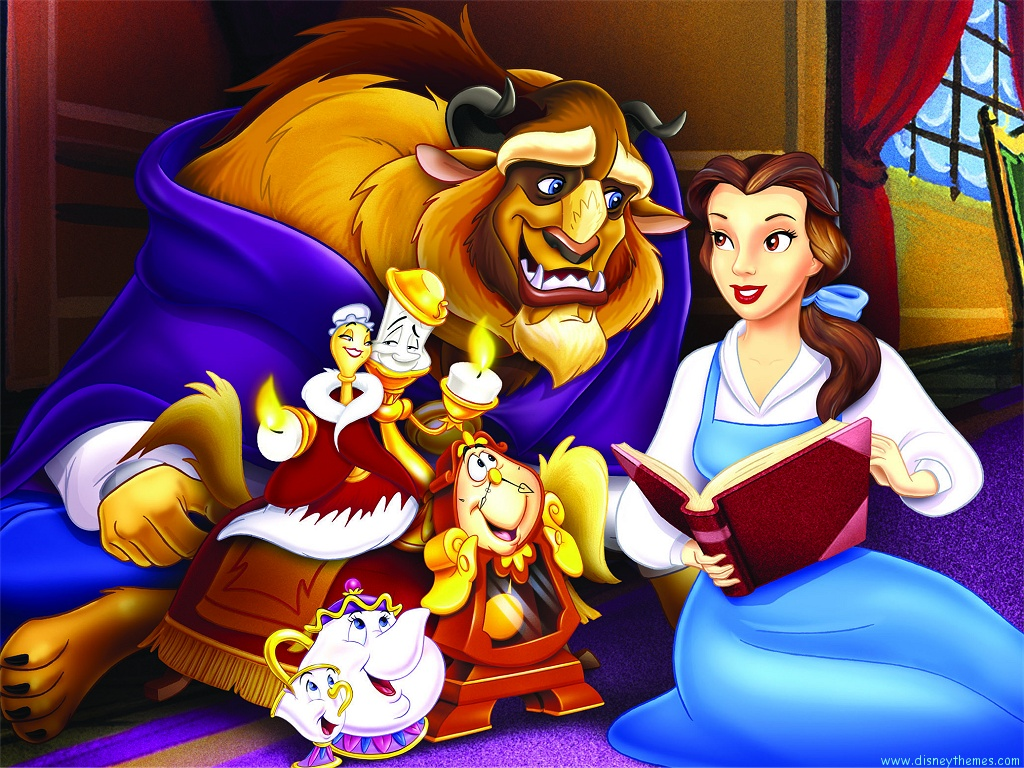 Disney Beauty and The Beast Cartoon Wallpaper 1024x768