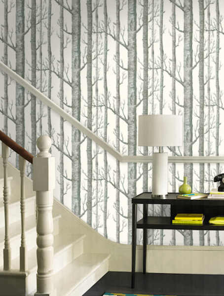 USING PEEL AND STICK WALLPAPER TO DRESS UP BUILT IN SHELVES Refined 454x600