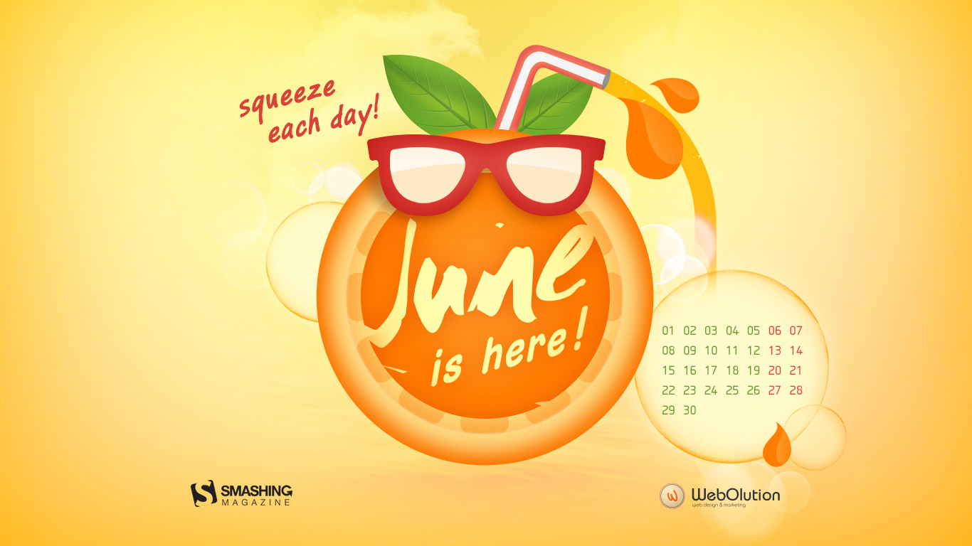 Calendar Desktop Wallpaper June 2015 Celebrate the summer with a 1366x768