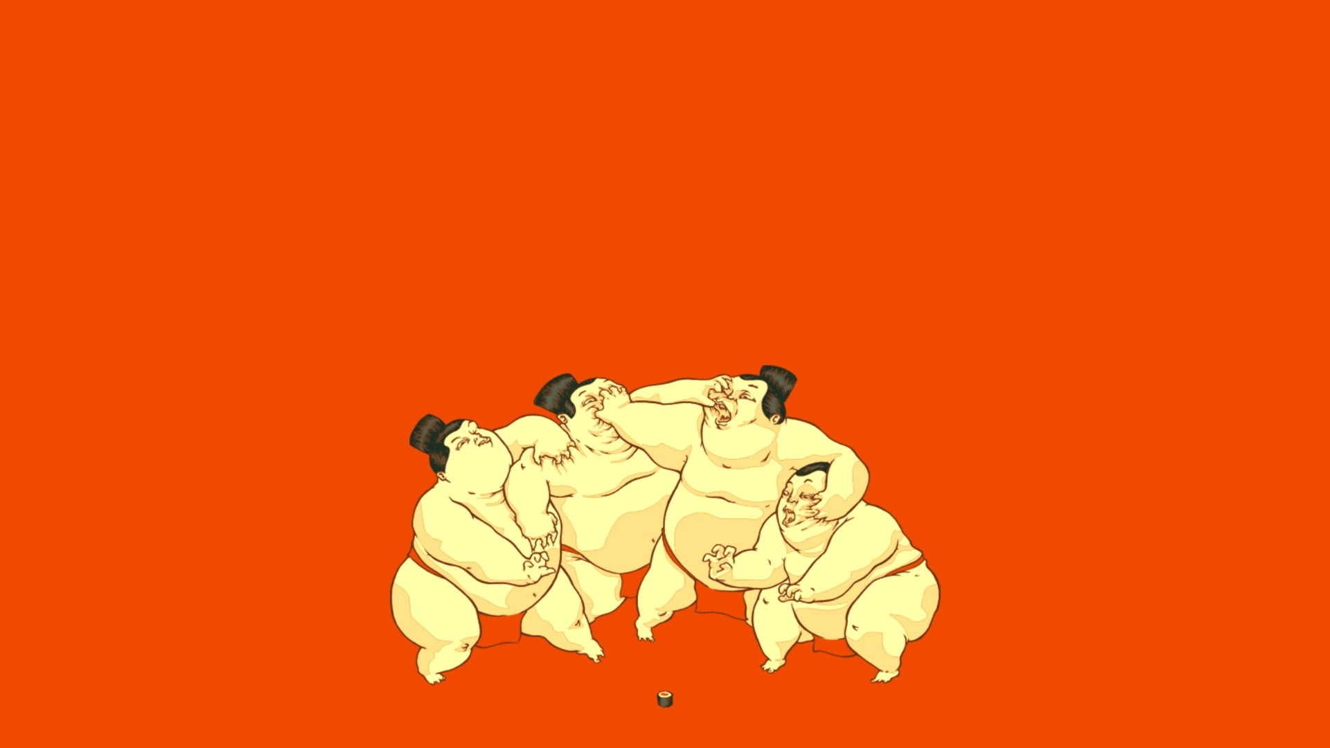 Four sumo wrestlers illustration artwork sumo wrestler HD 1920x1080