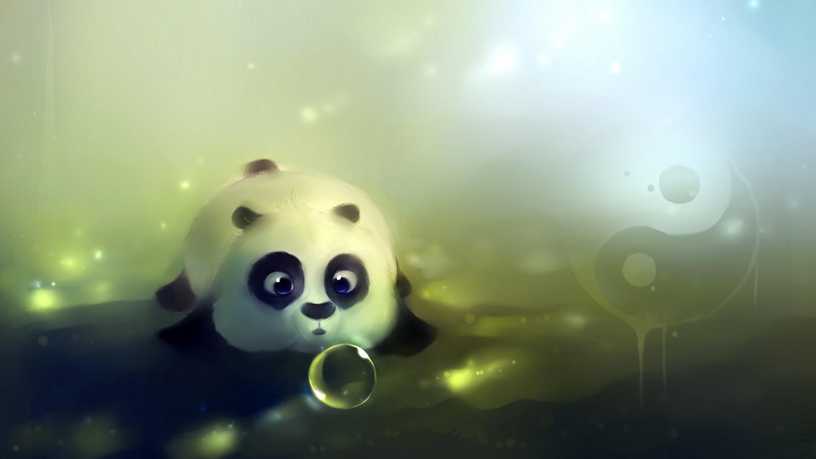 Fondo de Pantalla Animales Oso panda con burbuja   Imagenes ZT 1600x900