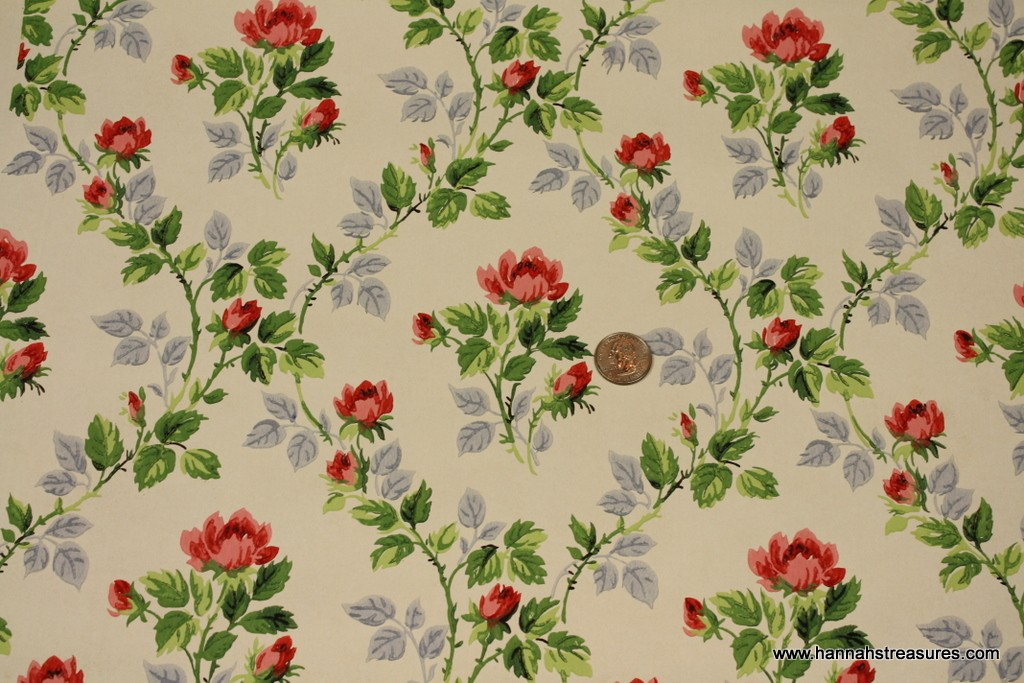 1940s Vintage Wallpaper Delightful Rosebuds by HannahsTreasures 1024x683