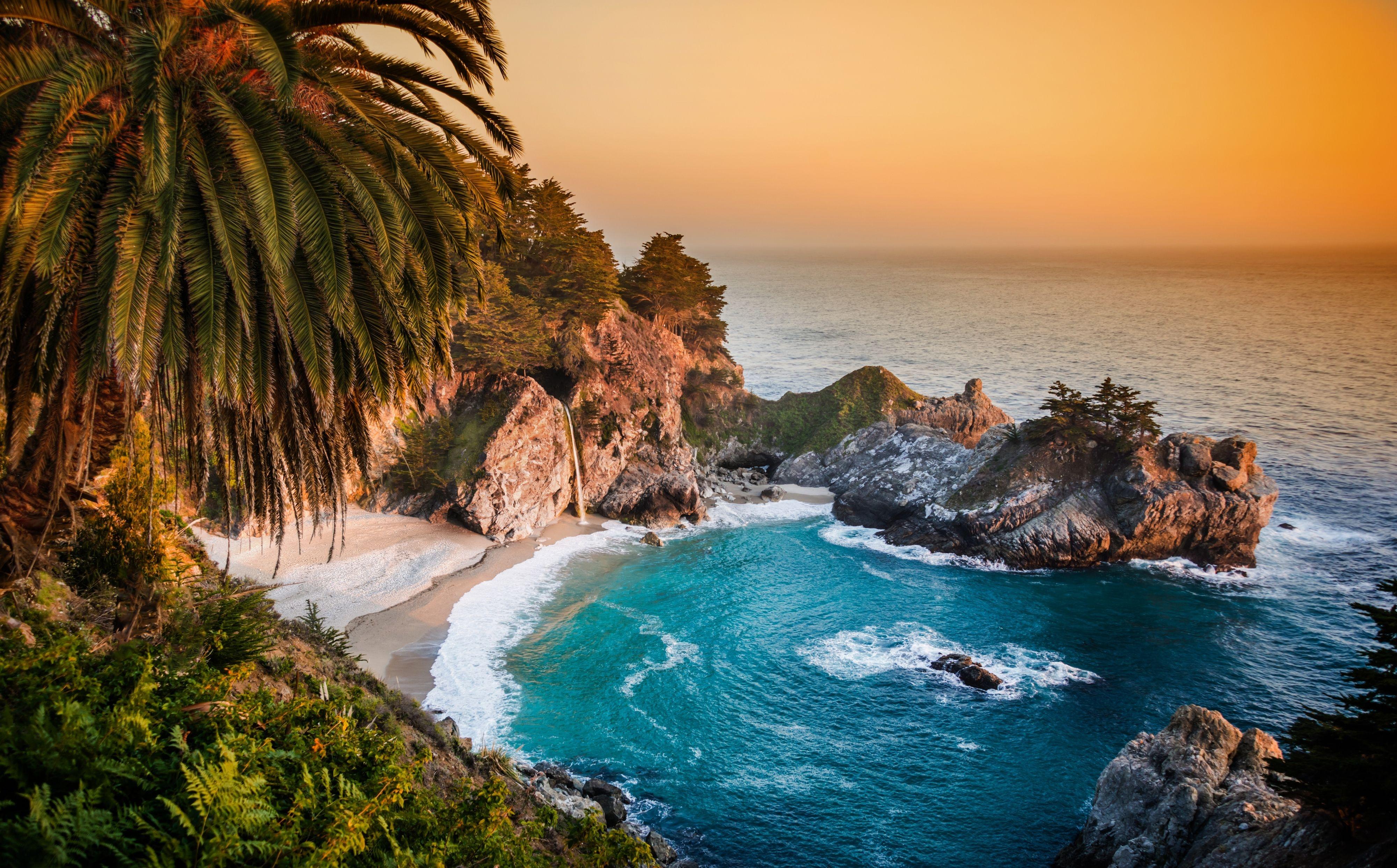 California Pacific Ocean waterfall wallpaper background 4000x2486