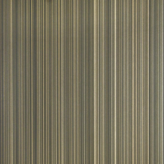pinstripe wallpaper in black with metallic gilver and gold stripe 534x534