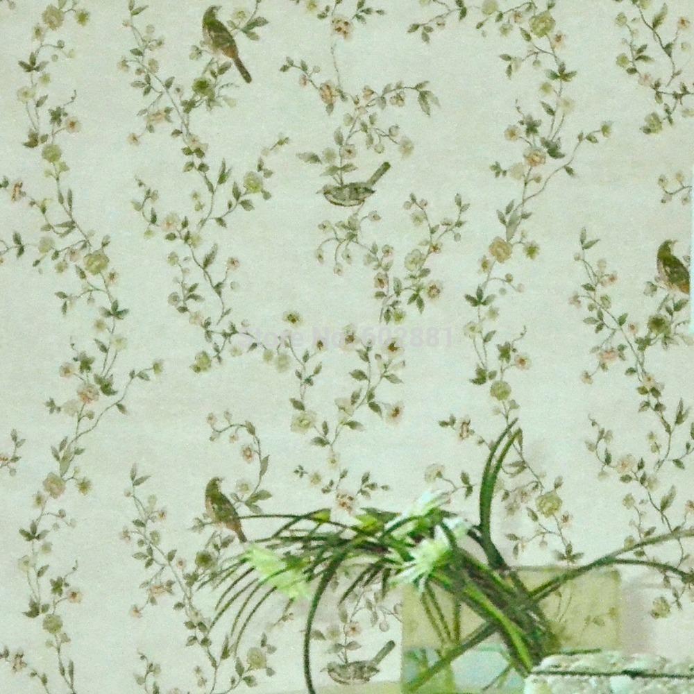 Vintage Retro Flower birds Non Woven flocking w metallic 10m Wallpaper 1000x1000