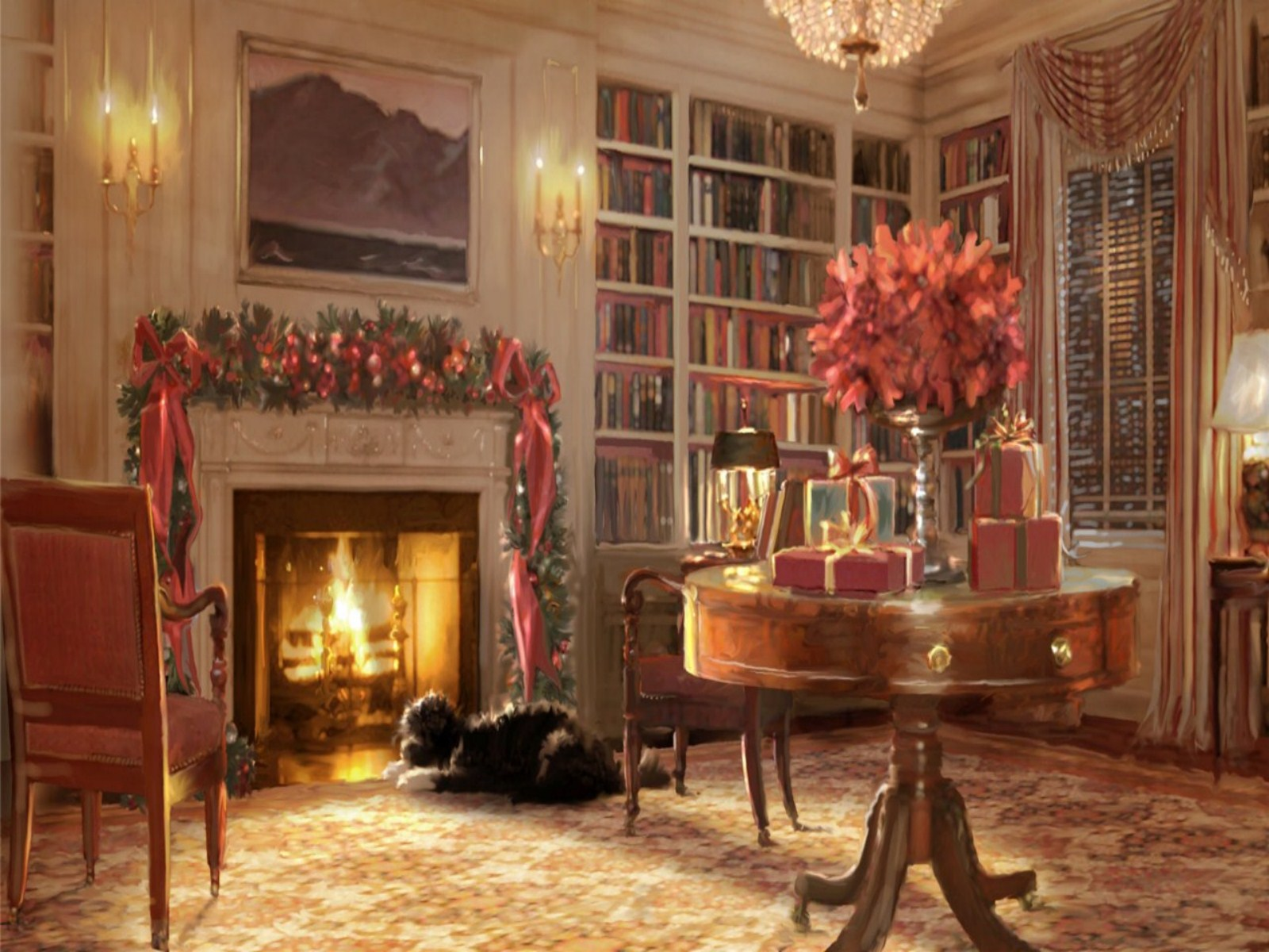 Christmas Fireplace Background Images amp Pictures   Becuo 1600x1200