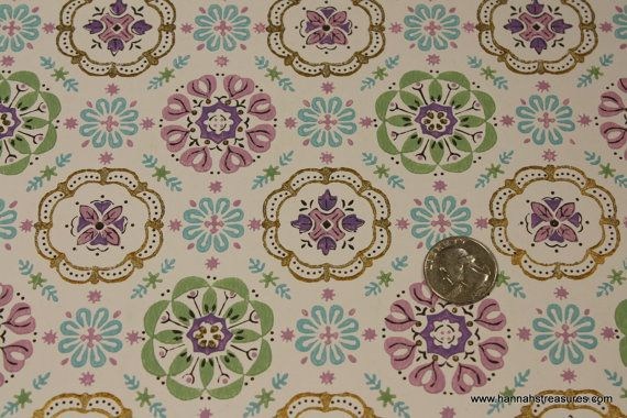 1940s Vintage Wallpaper purple green and by HannahsTreasures 1400 570x380