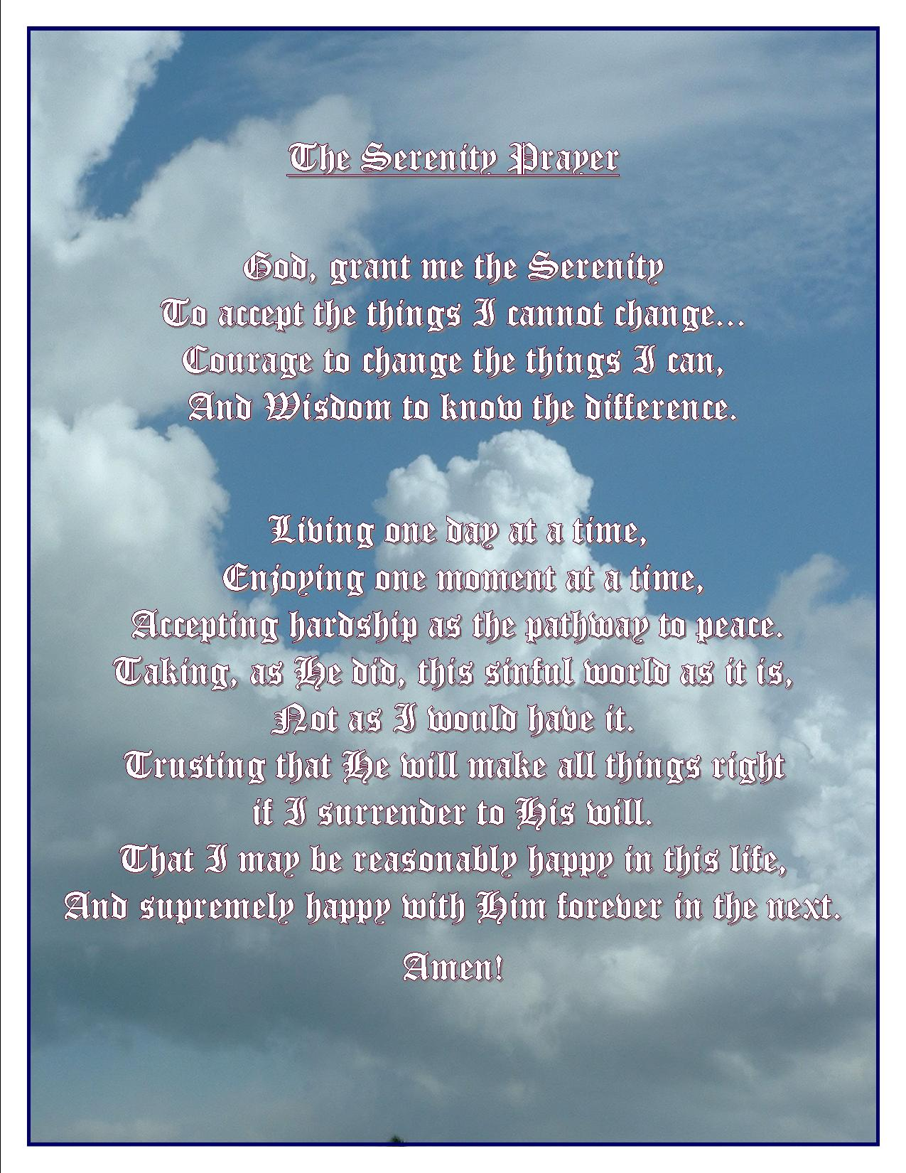 Free Download The Serenity Prayer God Grant Me The Serenity