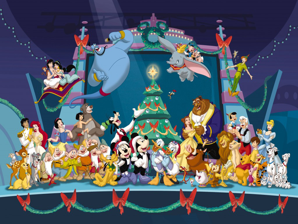 Disney Characters Christmas Wallpaper   Christmas Cartoon 1024x768