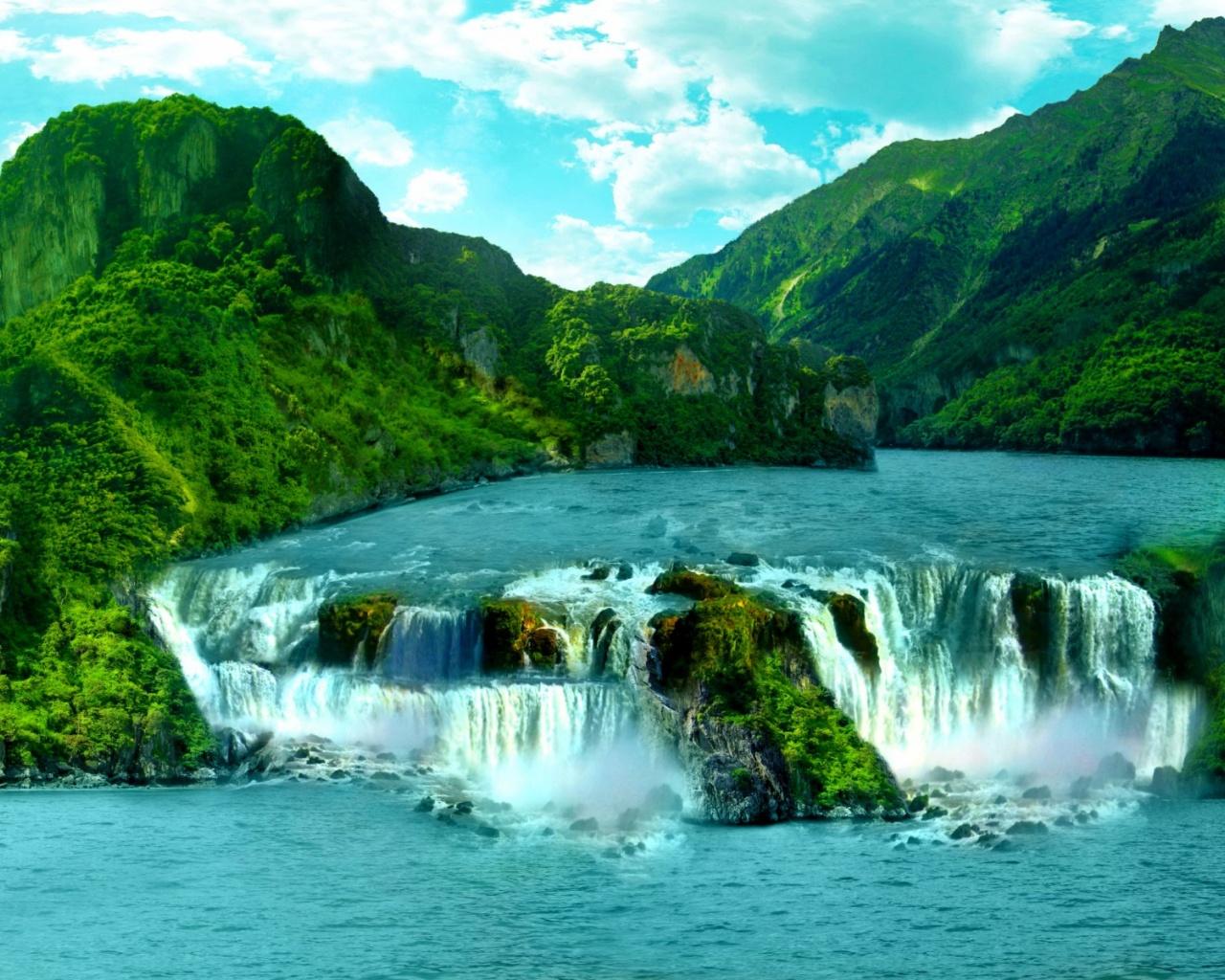 1280x1024 Tropical Waterfall desktop PC and Mac wallpaper
