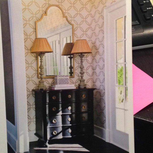 Bold wallpaper in a small entryway Hair Beauty that I love Pint 640x640