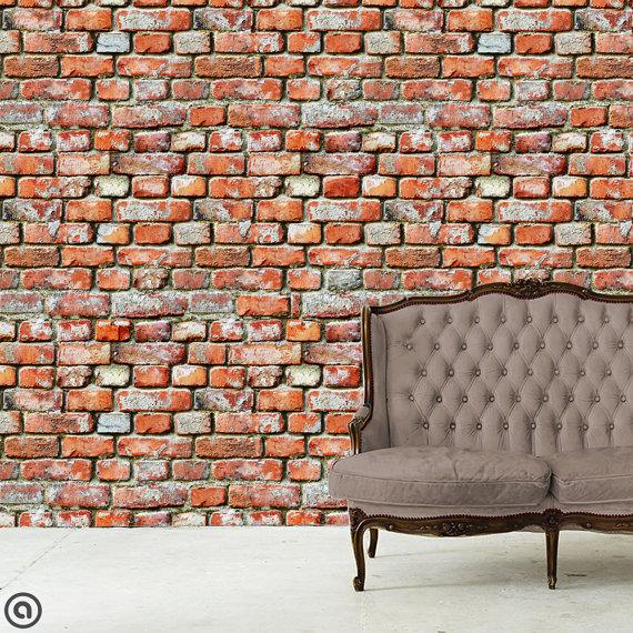 Removable Wallpaper  Rugged Brick  Peel Stick Self Adhesive Fabric 570x570