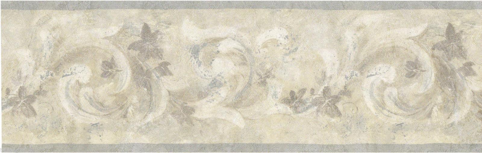Silver Gray Blue Cream Sachet Scroll Leaf Leaves Wall paper Border 1600x510