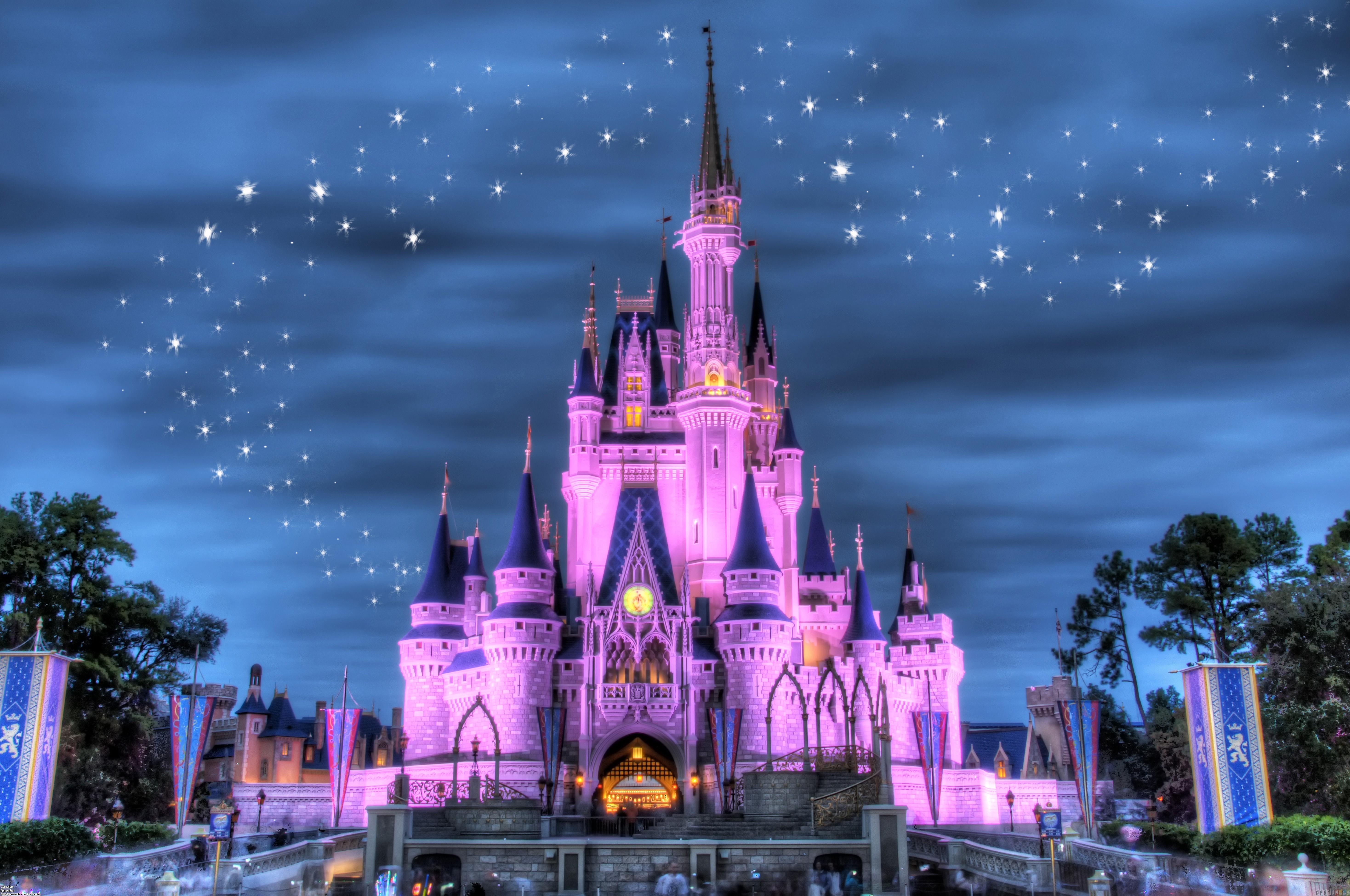 Disney castle background wallpapersafari for Disney castle mural wallpaper