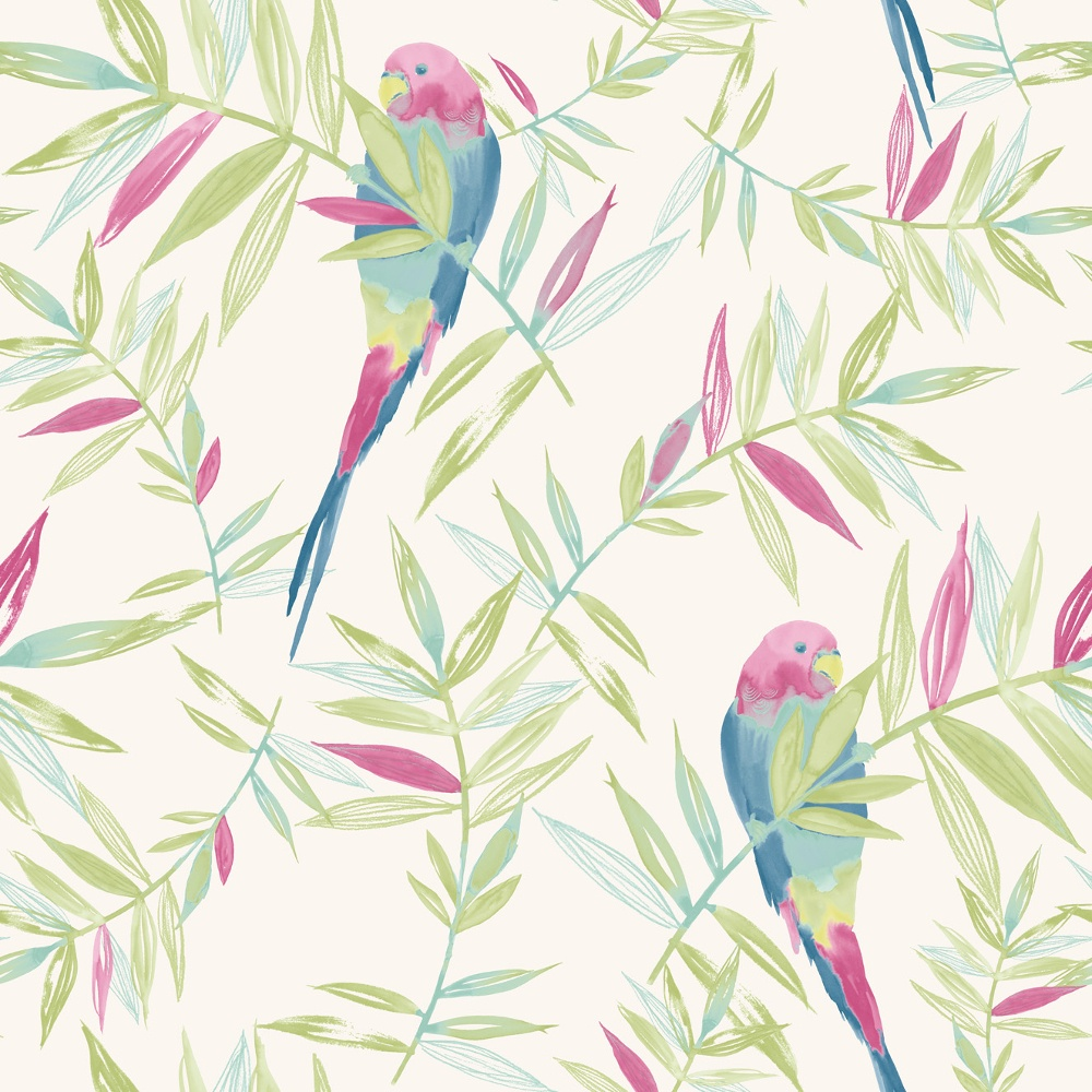 Bird Pattern Tropical Leaf Leaves Painted Motif Wallpaper 209204 1000x1000