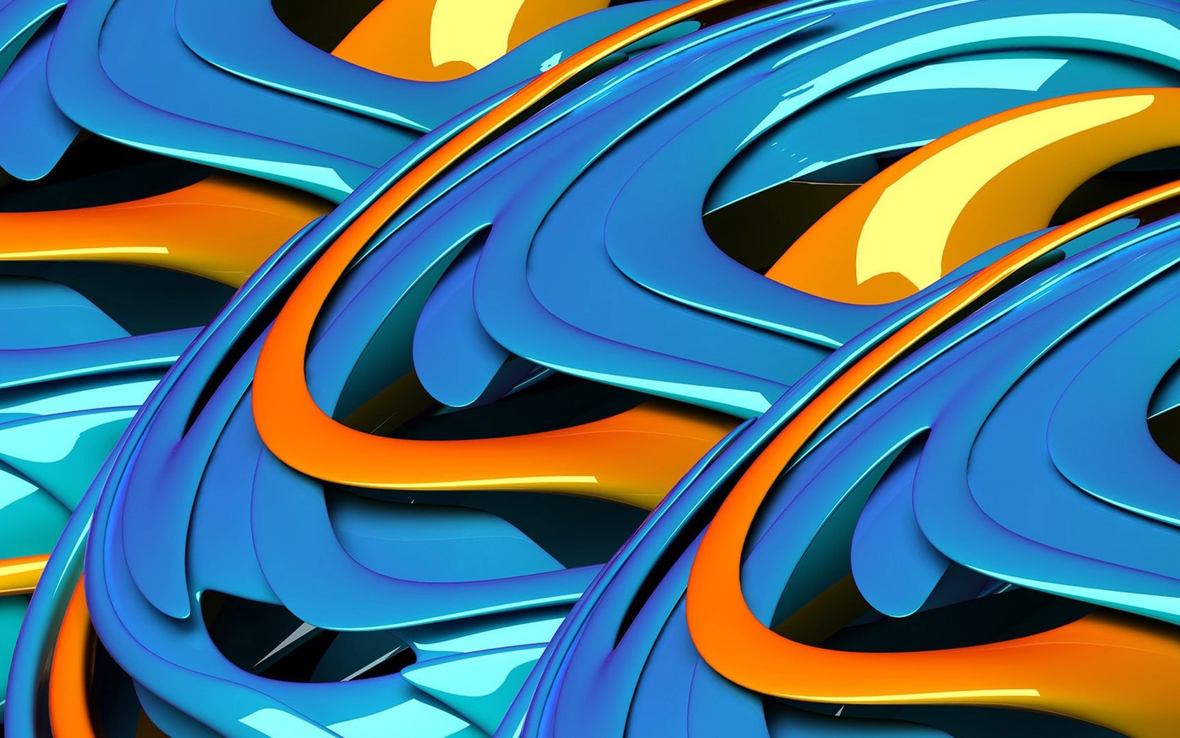 Download Blue and orange waves wallpaper 1680x1050