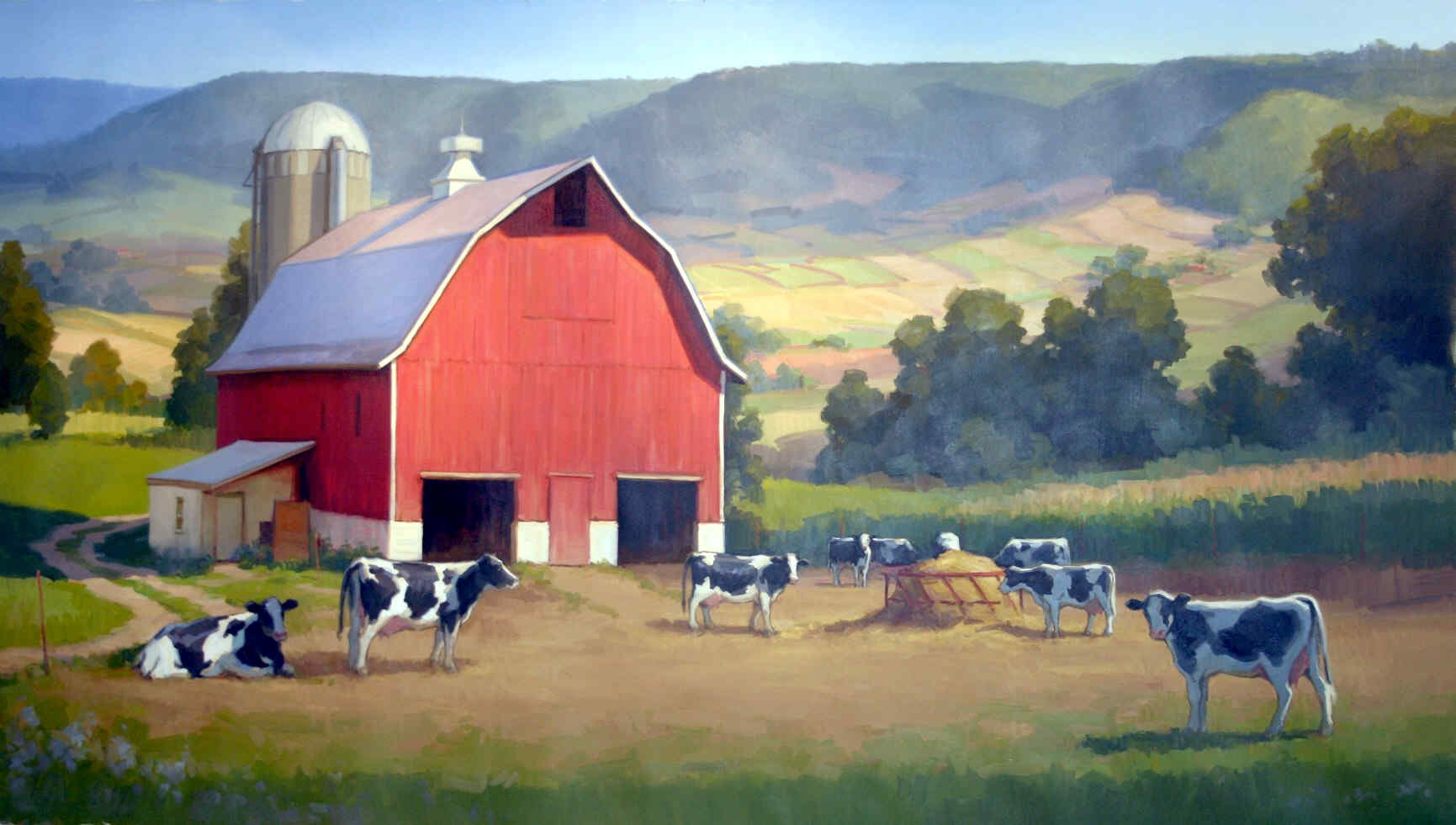 Download Farm Barn Cows Fields Hills Pasture Red Wallpaper 1731x981