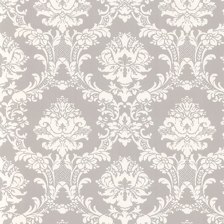 White on Gray Victorian Stencil Floral Damask Wallpaper CiCis City 736x736
