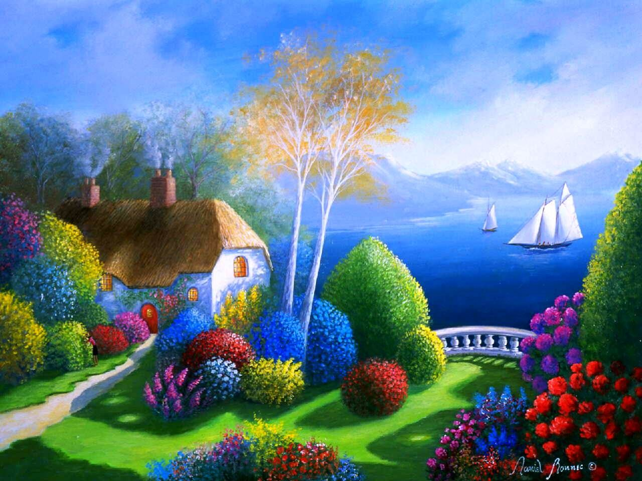 Colorful view art boat flower house painting path tree 212331 1280x960