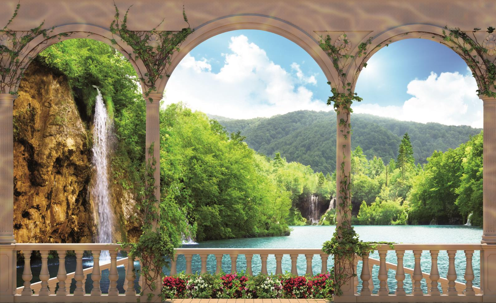 WALL MURAL PHOTO WALLPAPER PICTURE 1079VE Arches Landscape Lake 1591x971