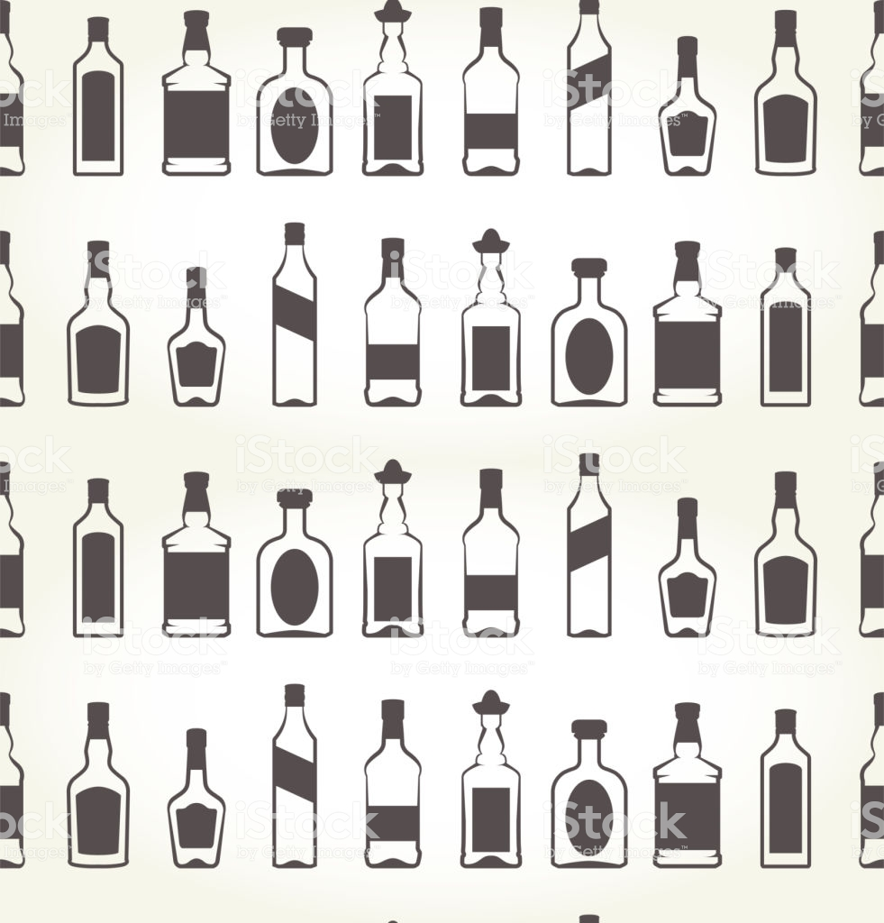 Alcohol Bottels Seamless Patten Booze Background Stock 981x1024