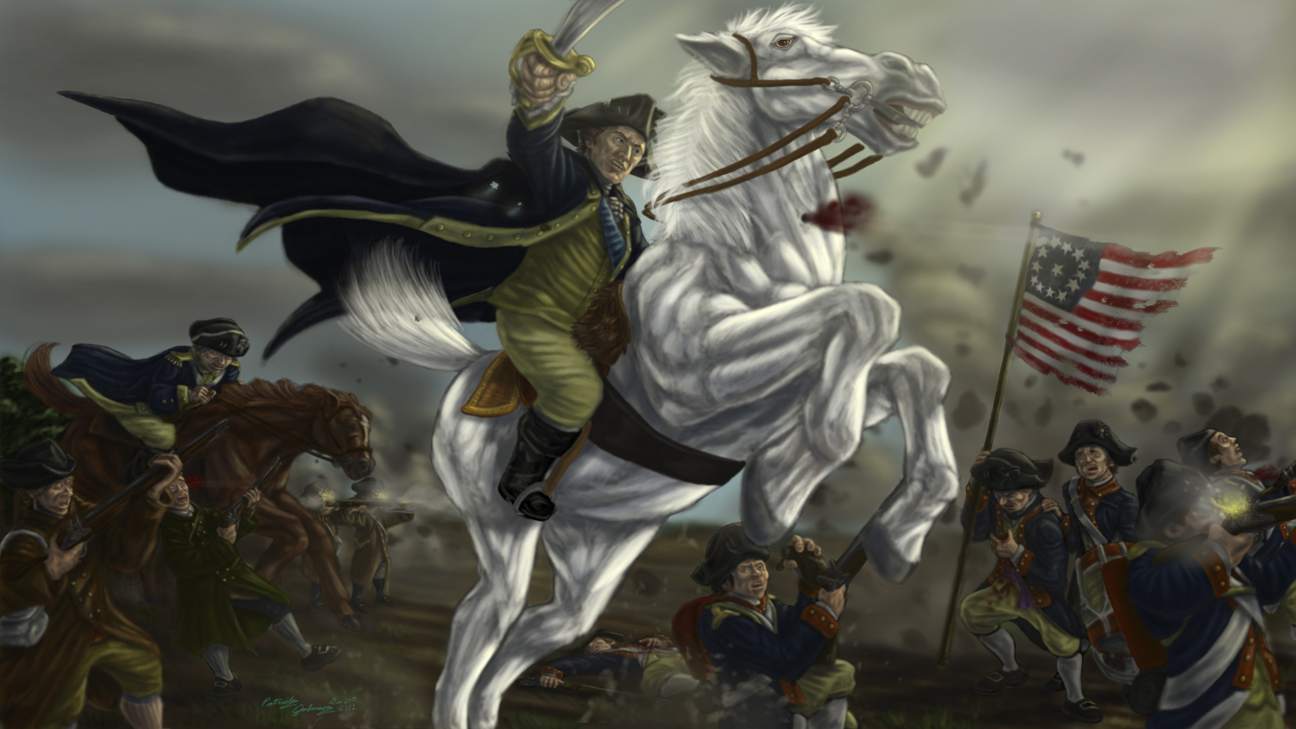 George Washington Tribute Painting by TheHylden 2560x1440