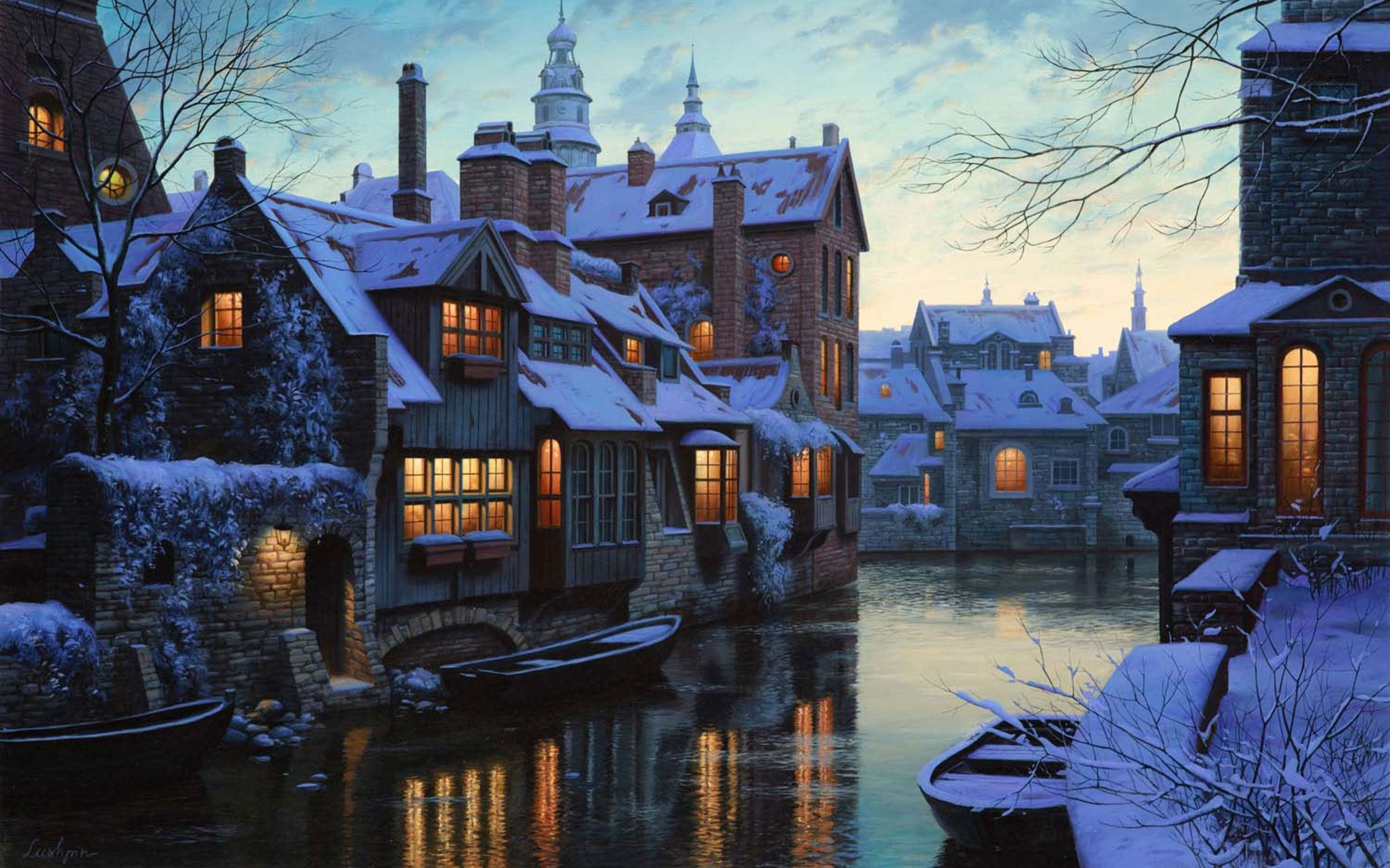 Free Download The City In Winter Time Widescreen Wallpaper Wide