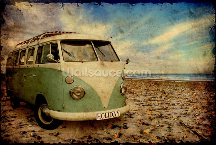 Wall Murals \ Photo Wallpaper \ Transport Themed Wall Murals \Green VW 700x469