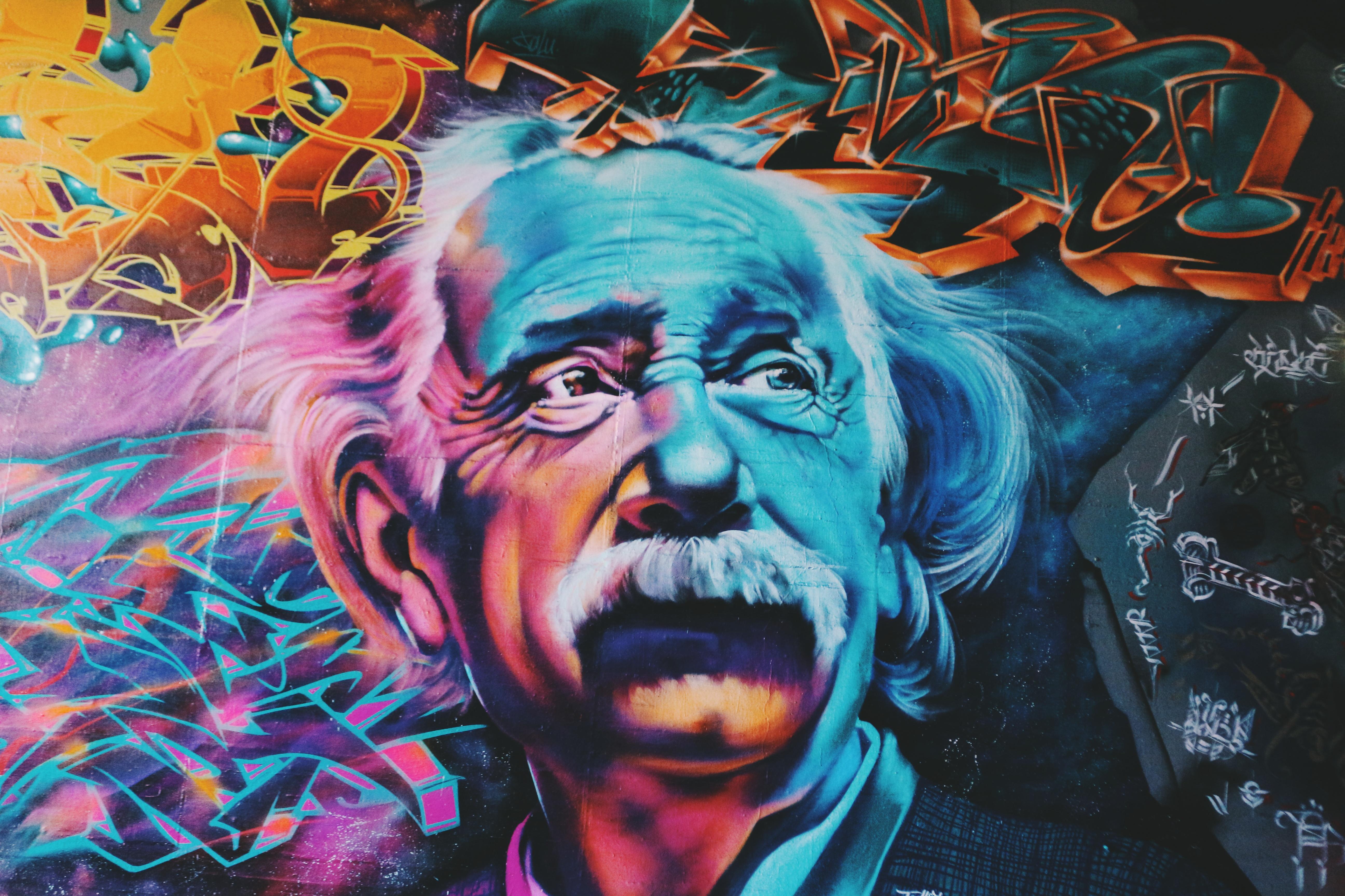 Albert einstein art colorful colourful graffiti wallpaper 5184x3456