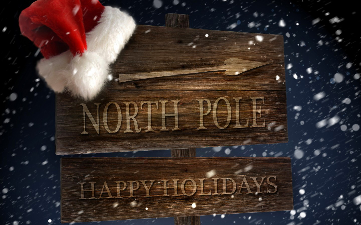 North Pole Sign with Santa Hat Christmas Background Gallery 1440x900