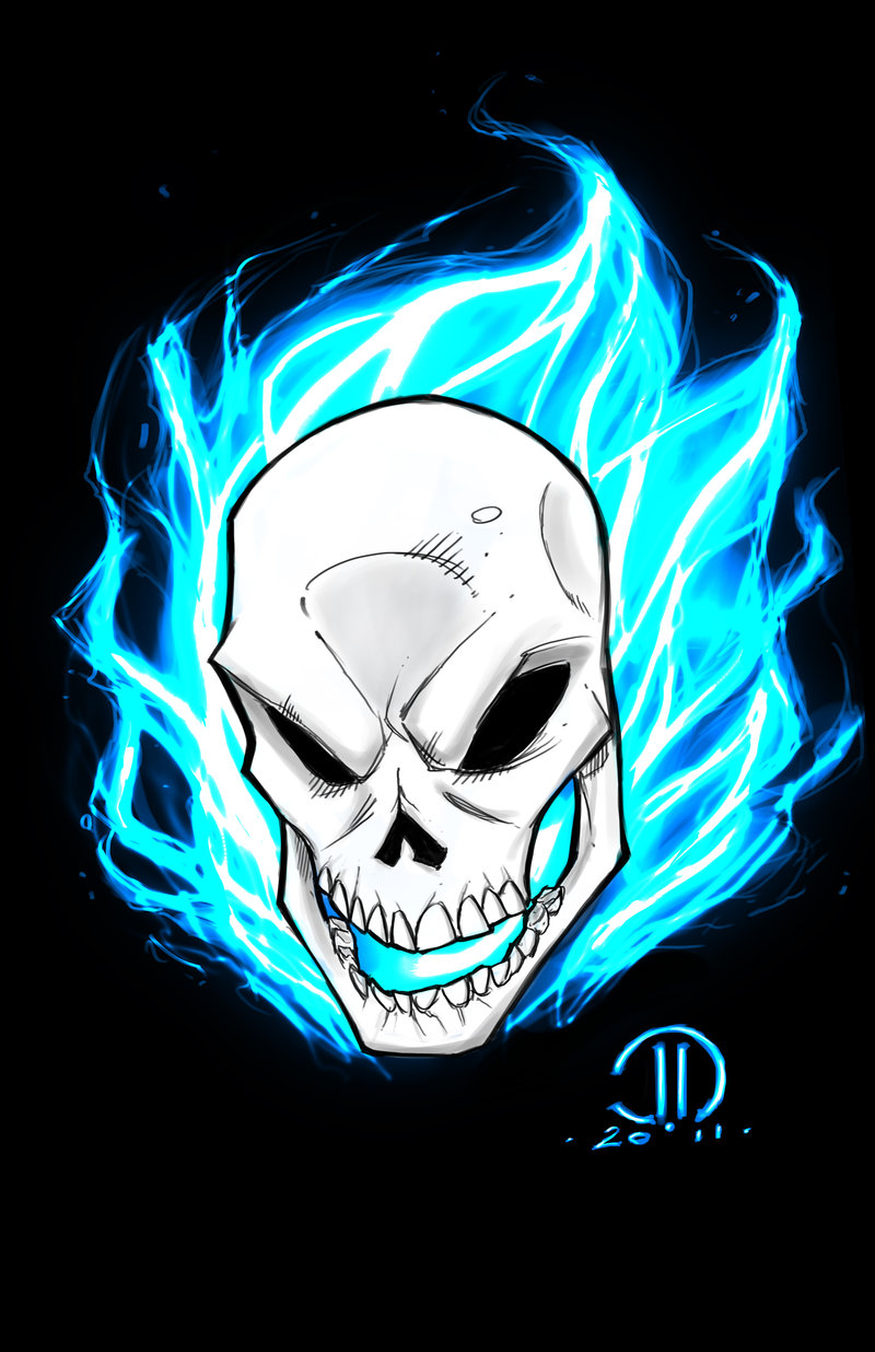 GHOST RIDER Blue digital sketch by JoeyVazquez 800x1236