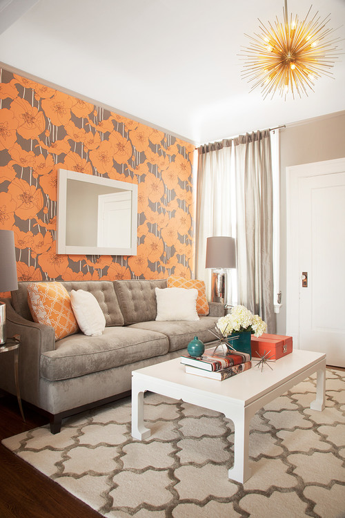 This orange and grey paper looks gorgeous paired with the trellis rug 500x750