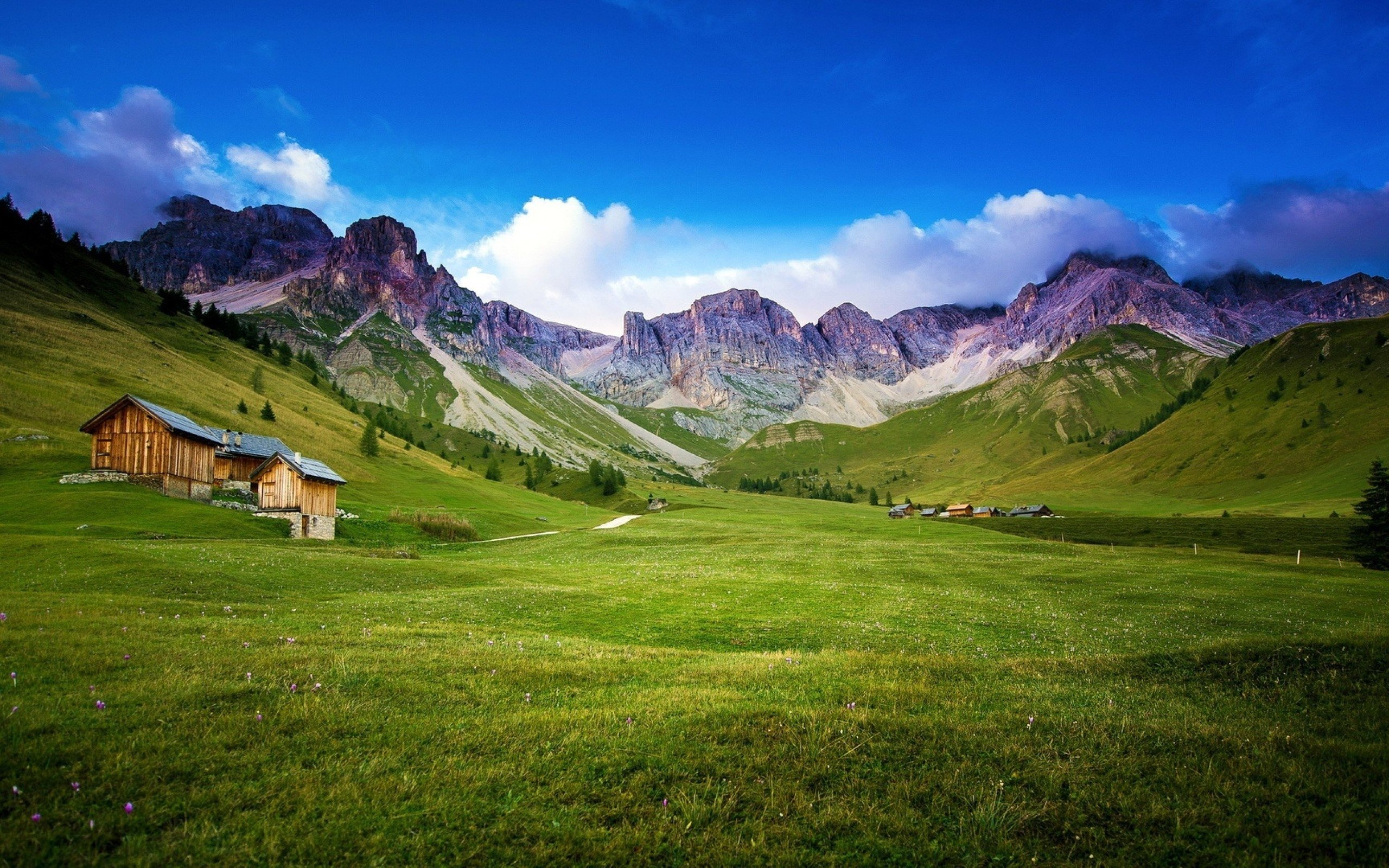 mountains landscape nature mountain rustic cabin farm wallpaper 2560x1600