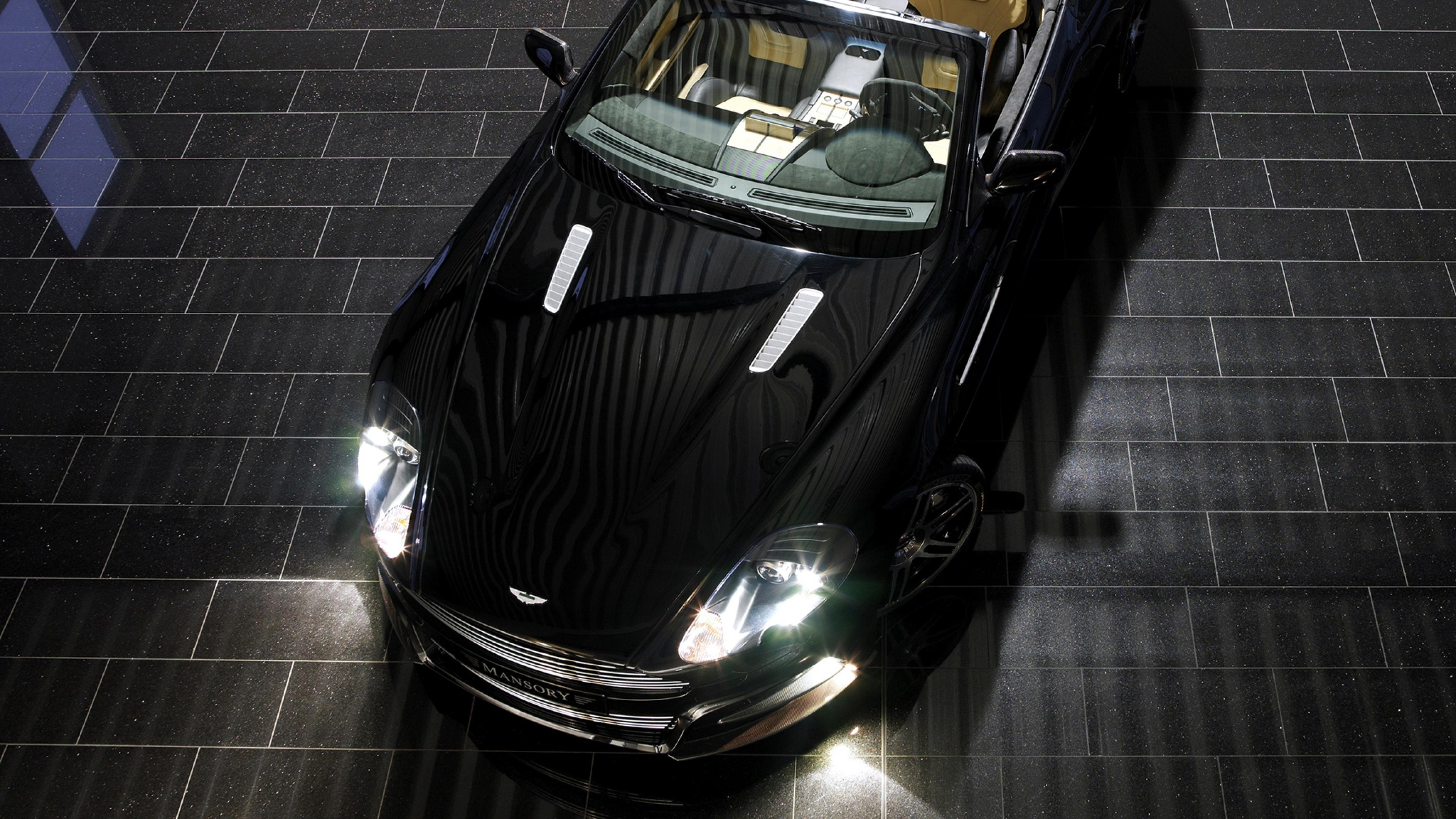 Download Wallpaper 3840x2160 Aston martin Db9 2008 Black Top view 3840x2160