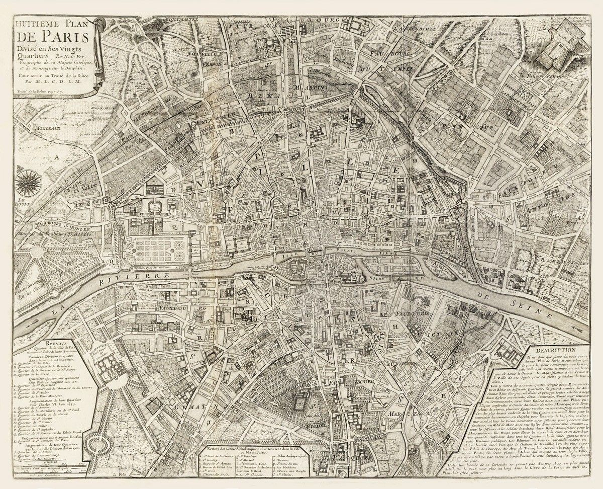 Vintage Map Paris France 1705 by Imagerich on Etsy 3000 via 1200x972