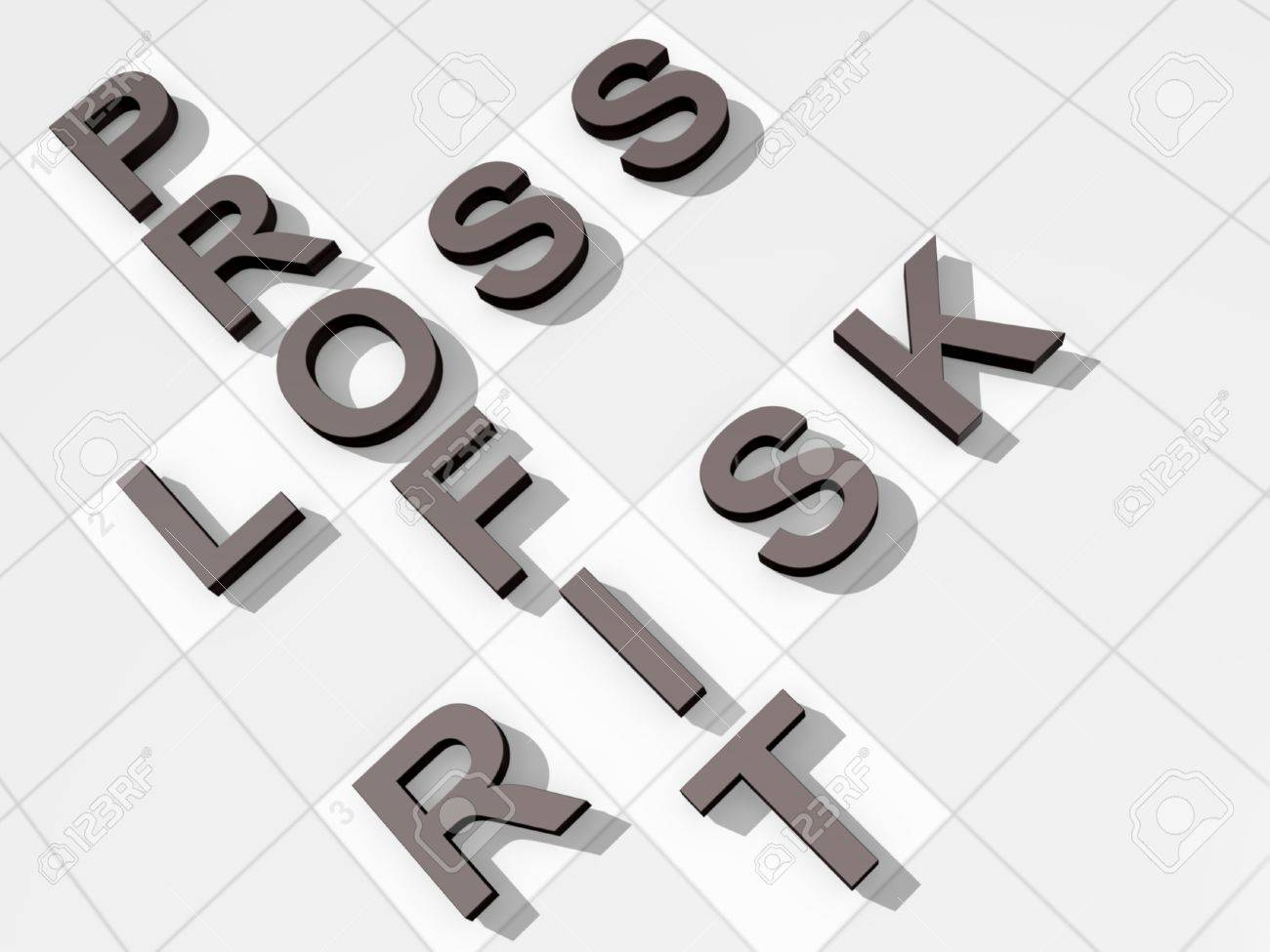The Words Profit Loss Risk On A Feint Crossword Background Stock 1300x975