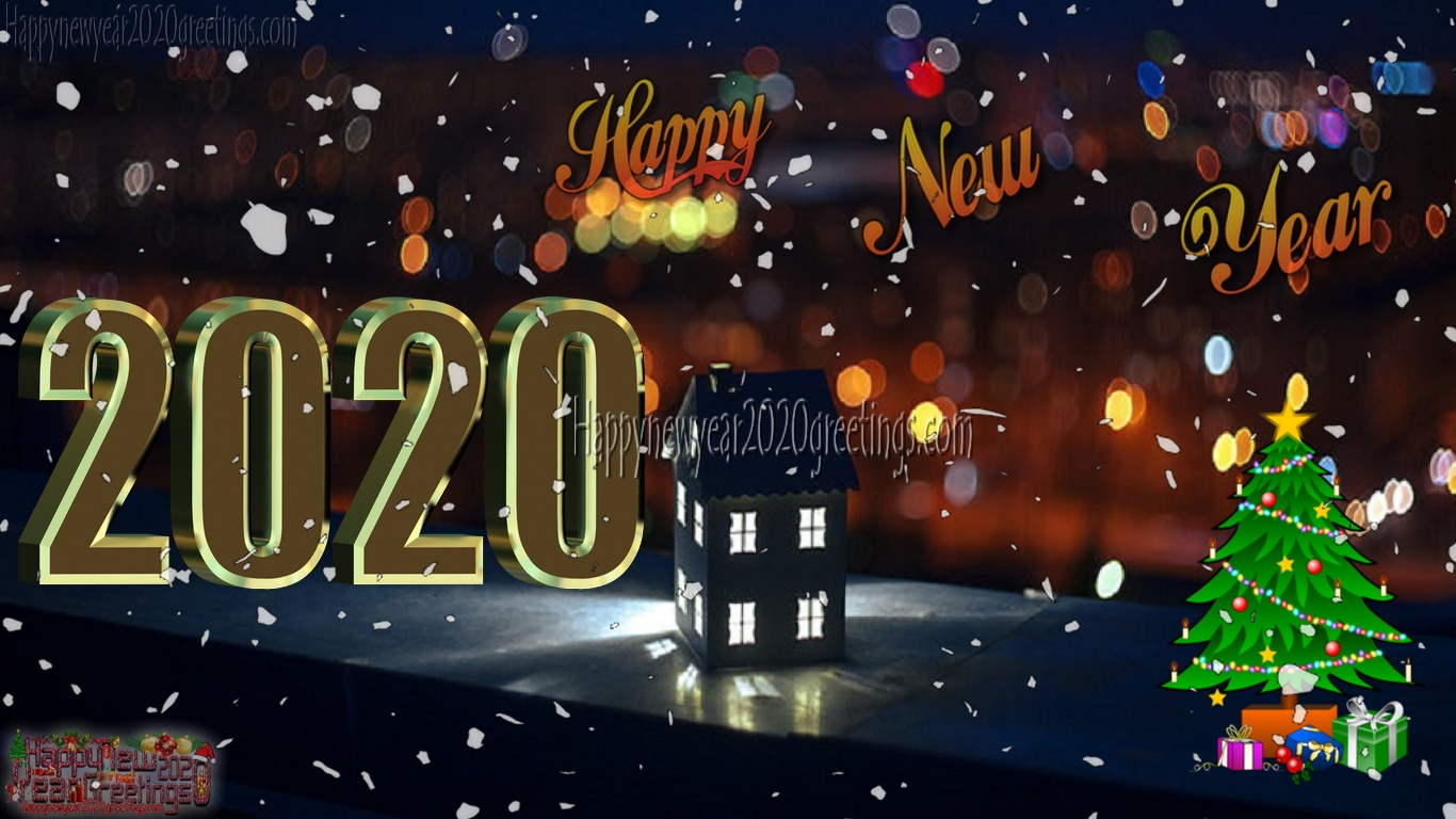 Happy New Year 2020 3D Wallpapers Download   New Year 2020 3D 1366x768