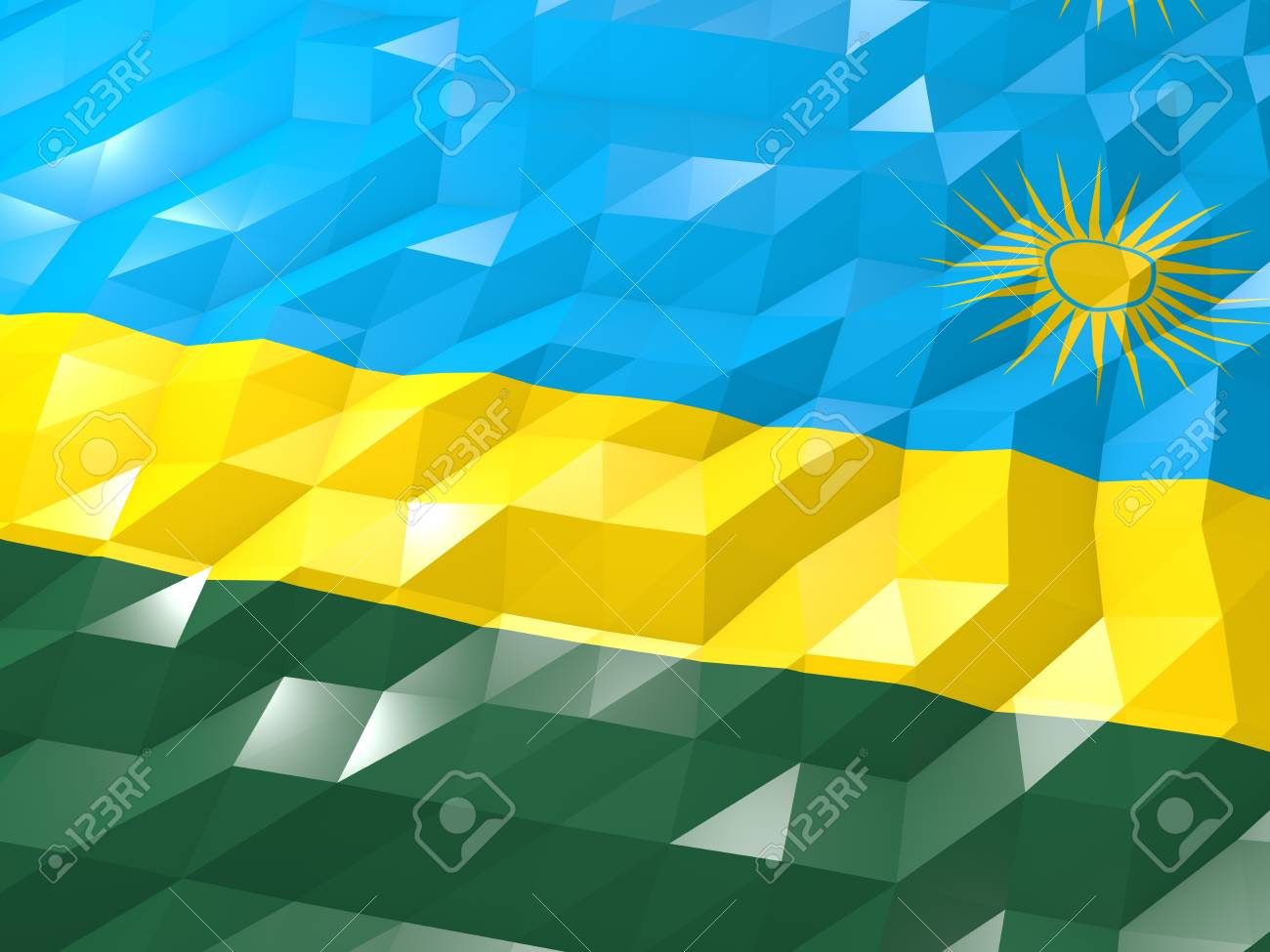 Flag Of Rwanda 3D Wallpaper Illustration National Symbol Low 1300x975