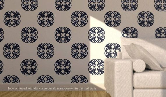 Make your own Wallpaper   removable wall vinyl   knotted nouveau patt 570x333