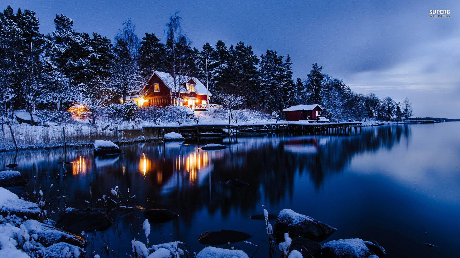 lakeside winter cabin 25436 1920x1080 1920x1080