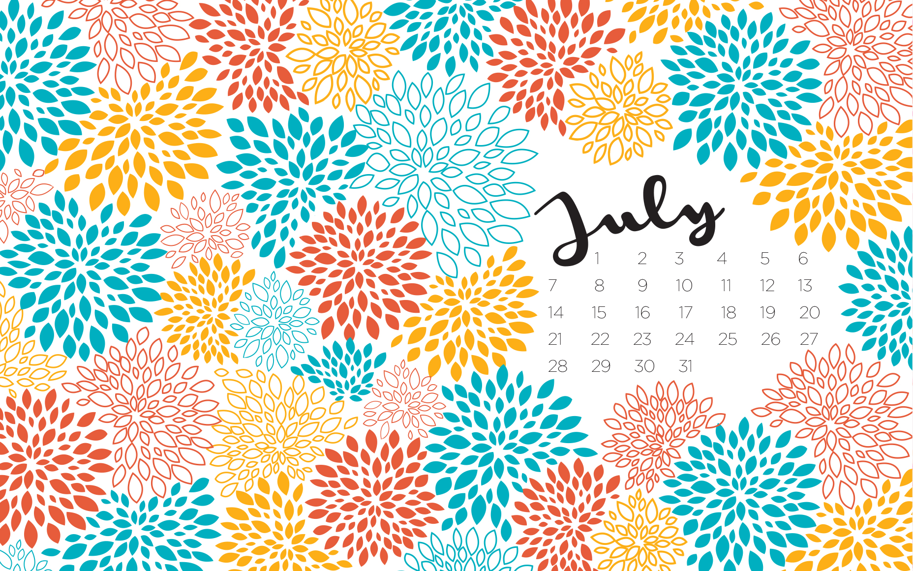 free july wallpaper with calendar