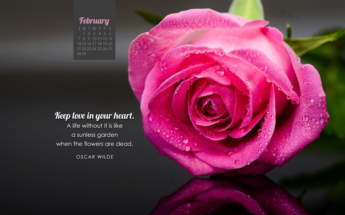 February 2016   Oscar Wilde Desktop Calendar  February Wallpaper 1100x687